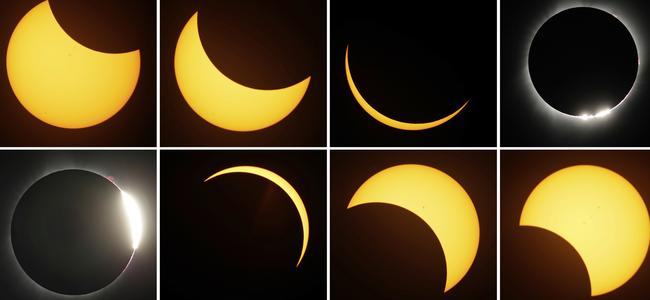 This eight picture combo shows the path of the sun during a total eclipse by the moon Monday, Aug. 21, 2017, near Redmond, Oregon. Picture: Ted S. Warren/AP