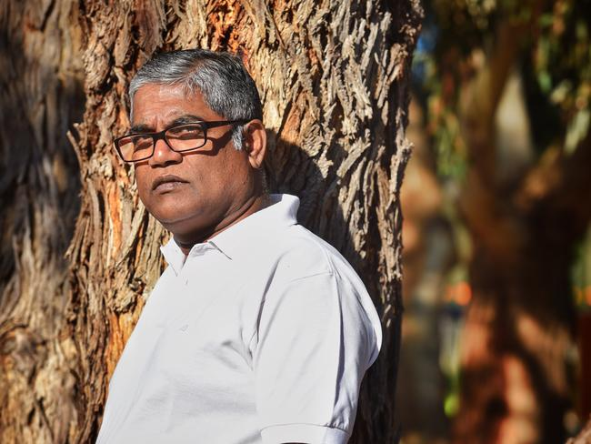 Roger Singaravelu was stabbed in front on his daughter, 5. Picture: Tony Gough