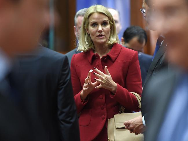 Leader ... Danish Prime Minister Helle Thorning-Schmidt could head the first nation to become cashless. Picture: AFP PHOTO /EMMANUEL DUNAND