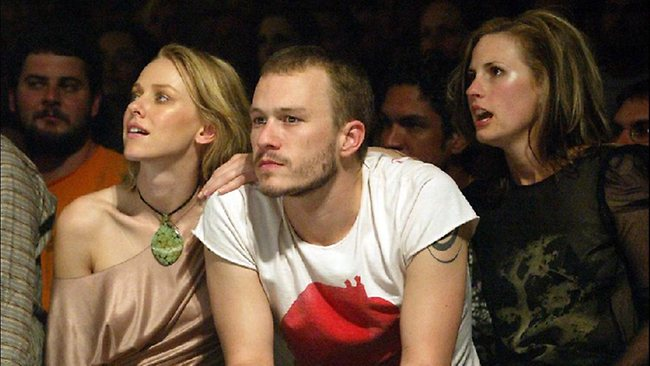 Heath Ledger pictured with then girlfriend, Naomi Watts and sister Kate Ledger. Photo: Fiona Hamillton