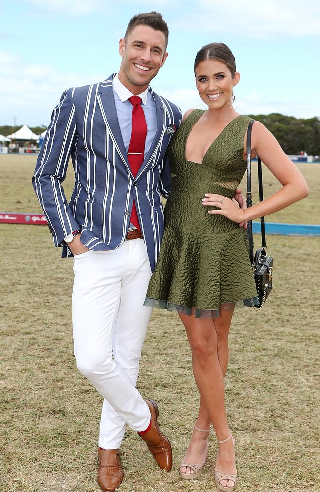 'It's not a club!' Lee Elliott, with girlfriend Georgia Love, is a polo pro. Picture: News Corp Australia