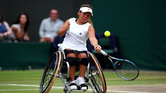 Japan's Yui Kamiji in the Wimbledon Ladies' Wheelchair doubles final. Picture: Charlie Crowhurst/Getty Images