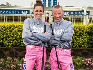October 18, 2017: BRC are raising money for breast cancer at Doomben on Saturday. I have a nice pic of Tegan Harrison and Jim Byrne in pink breeches (pants), which riders will wear in two of the races this weekend at Doomben. Pic supplied by BRC