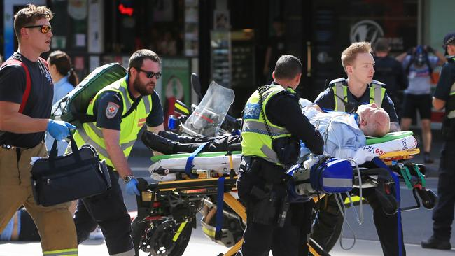 The car rammed into pedestrians shortly after 4.30pm near the Flinders St Station. Picture: Aaron Francis/The Australian