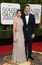 Amanda Peet and Game Of Thrones' David Benioff arrive at the 73nd annual Golden Globe Awards, January 10, 2016, at the Beverly Hilton Hotel in Beverly Hills, California. Picture: AFP PHOTO / VALERIE MACON