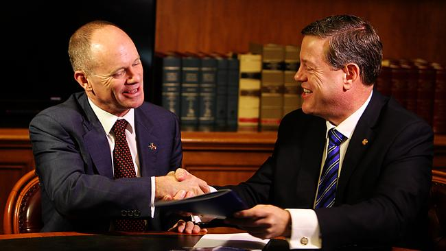 Premier Campbell Newman (left) and Treasurer Tim Nichols. Picture: Annette Dew