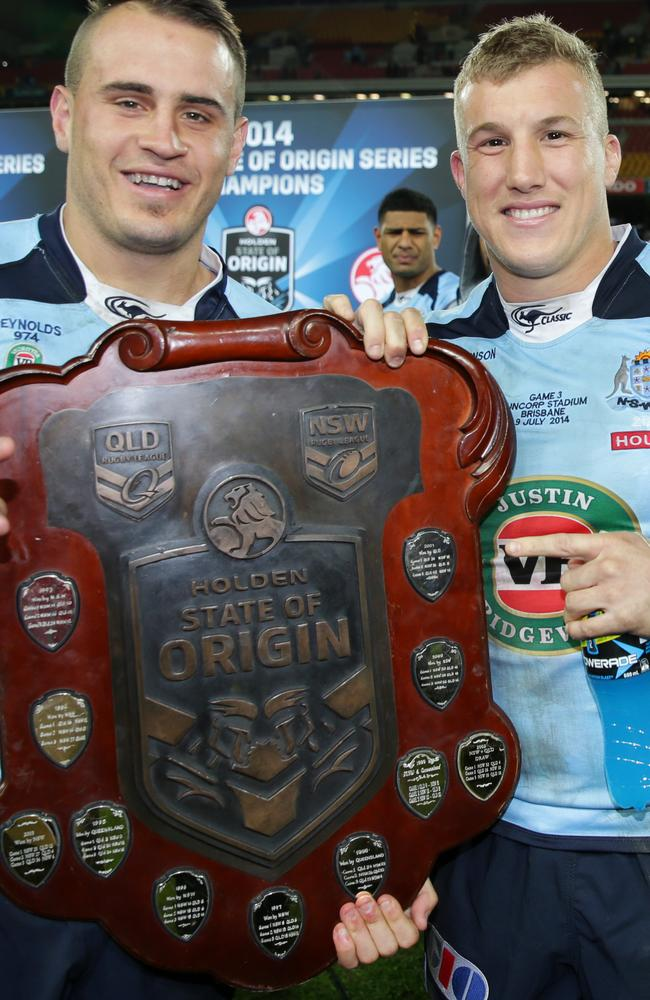 NSW's Josh Reynolds and Trent Hodkinson celebrate during a lap of honour after winning the 2014 State of Origin series.