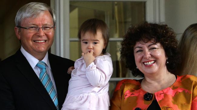 Kevin Rudd with his granddaughter Josephine and wife Therese Rein.