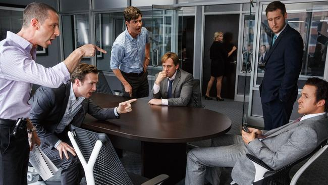 Jeremy Strong, from left, Rafe Spall, Hamish Linklater, Steve Carell, Jeffry Griffin and Ryan Gosling in the film, The Big Short.