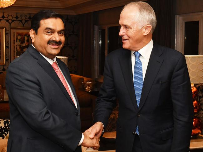 Australian Prime Minister Malcolm Turnbull (right) meets with India's Adani Group founder and chairman Gautam Adani in New Delhi, India, Monday, April 10, 2017. Picture: Mick Tsikas