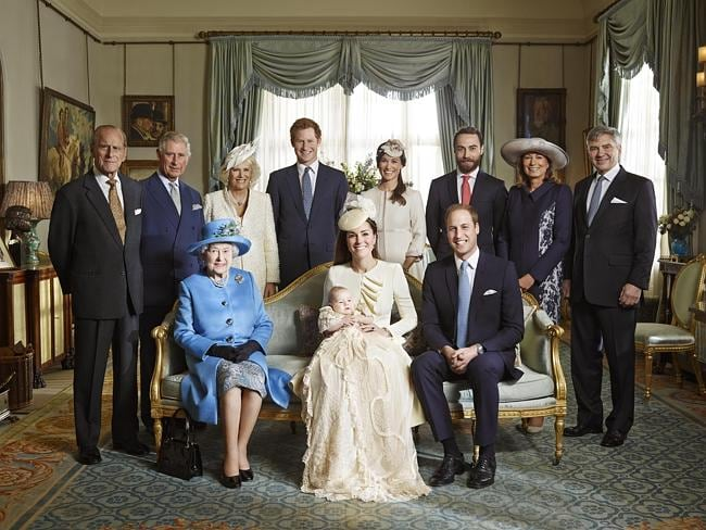 Prince Philip, Prince Charles, and the Duchess of Cornwall, Prince Harry, Pippa Middleton, James Middleton, Carole Middleton and Michael Middleton, with Britain's Prince George and mother Kate Duchess of Cambridge next to Queen Elizabeth II and Prince William. Picture: AP