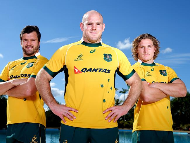 Captain Stephen Moore poses with vice-captains Adam Ashley-Cooper (left) and Michael Hooper. Picture: Getty Images