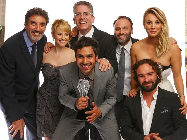 The Big Bang Theory team minus Jim Parsons ... Producer Chuck Lorre, actress Melissa Rauch, producer Bill Prady, actor Kunal Nayyar, producer Steven Molaro and actors Kaley Cuoco and Johnny Galecki. (Photo by Christopher Polk/Getty Images for CCTA) Picture: Images Getty