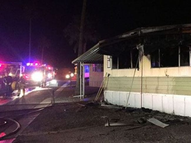 Tucson home goes uip in flames after resident 'tries to kill spider's will a blowtorch. Picture: Tucson Fire Department