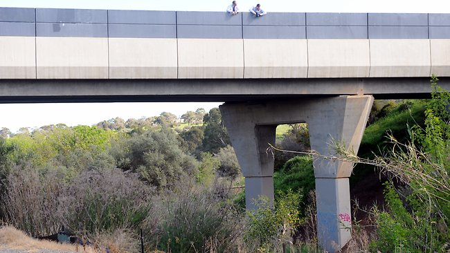 Emergency service workers recover the body of a young graffiti artist who fell off a Southern Expressway bridge at Christies Creek. Pic: Chris Mangan