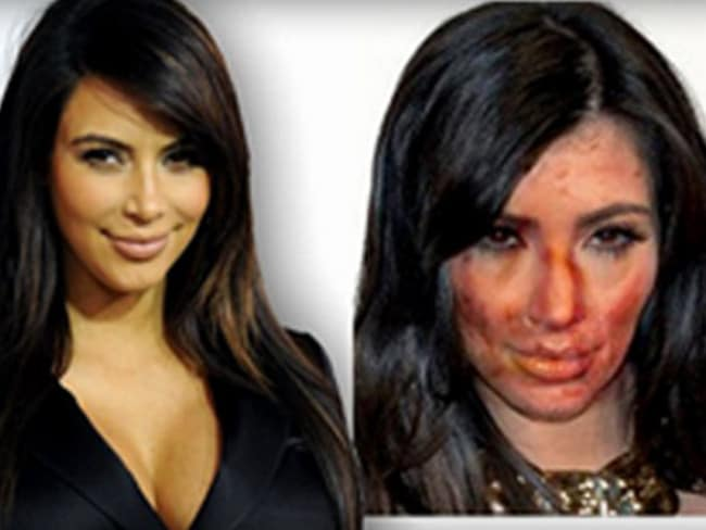 Kim K, before and after Photoshop. Picture: Bradley County Sheriff's Office website