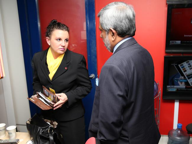 Funny the people you run into at Parliament House: Jacqui Lambie with the High Commissioner of Sri Lanka, Admiral Thisara Samarasinghe. Picture: Gary Ramage