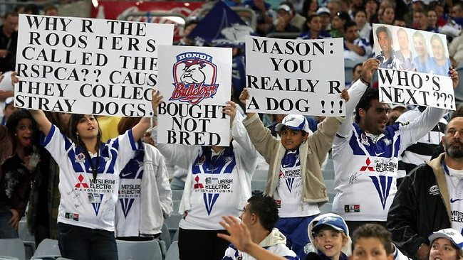 Angry fans greet Willie Mason in his first game against the Bulldogs in 2008.