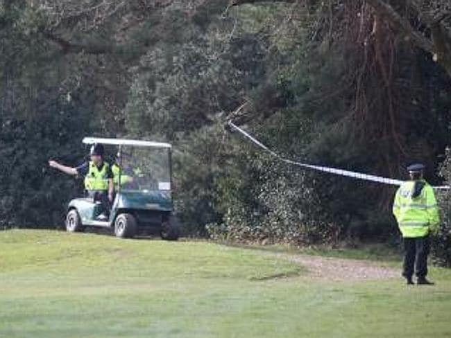 Police search for clues in the undergrowth at The Club at Meyrick Park golf course near Bournemouth in Dorset. Picture: Dorset Police