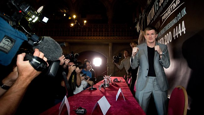 Boxer Ricky Hatton poses for a photograph after a press conference at the Manchester Town Hall for his comeback fight against Vyacheslav Senchenko on November 24th.