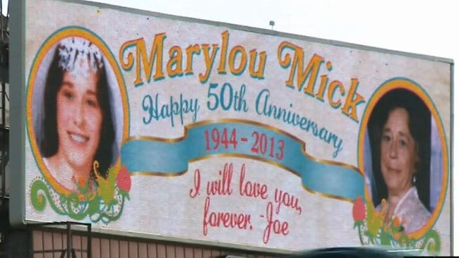 The billboard posted for Joe and Marylou Mikolajczak's 50th wedding anniversary.