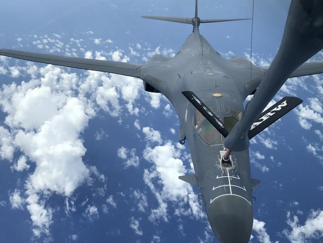 A US Air Force B-1B Lancer refuels during a 10-hour mission from Andersen Air Force Base, Guam, flying in the vicinity of Kyushu, Japan, the East China Sea, and the Korean Peninsula on Monday. Picture: AFP/US Air Force/Gerald Willis