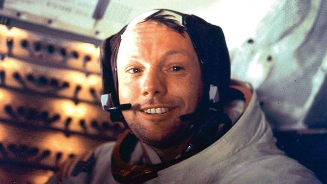 "Apollo 11 space mission US astronaut Neil Armstrong is seen smiling at the camera aboard the lunar module ""Eagle"" on July 21, 1969 after spending more than 2 hours on the lunar surface. Photo: AFP"