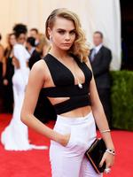 Model Cara Delevingne wears Stella McCartney at the 2014 Met Gala. Picture; Getty