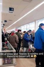 Shoppers at a rammed Tesco store in Medway in Kent this morning. Pictures show huge queues at a UK supermarket as customers start to bulk buy in fear that the beast from the east will bring the country to a halt. Picture: Mercury Press/Caters