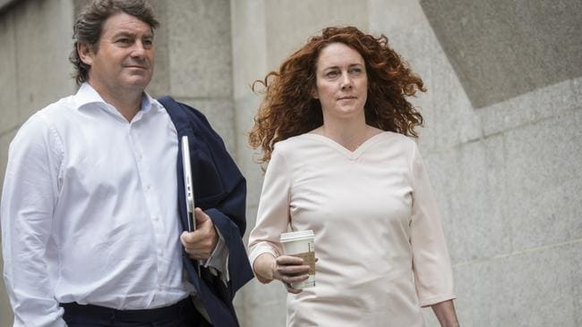 Relieved ... Former News International chief executive Rebekah Brooks and her husband Charlie Brooks arrive at the Old Bailey court in London. Picture: Rob Stothard/Getty Images