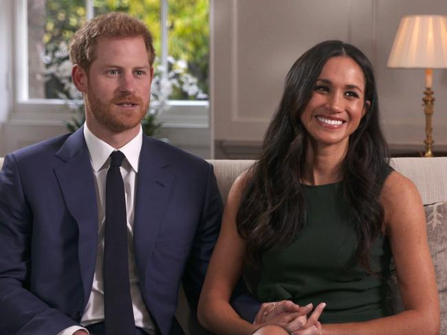 Prince Harry and Meghan Markle talk about their engagement during an interview in London. Picture: Pool via AP
