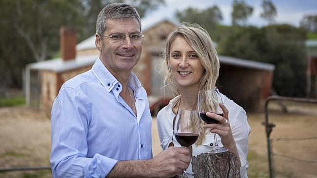 Selling items produced from recycled wine barrels ... Peter and Krystal Ruchs of Winestains Barossa.