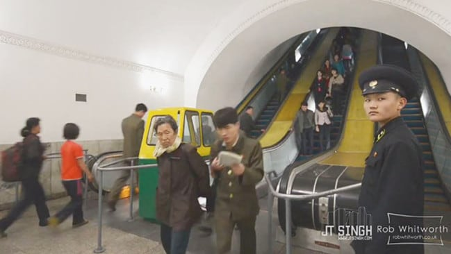 North Koreans are captured going about their everyday lives. Credit: Vimeo/JT Singh