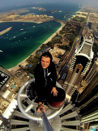 Atop a skyscraper in Dubai.