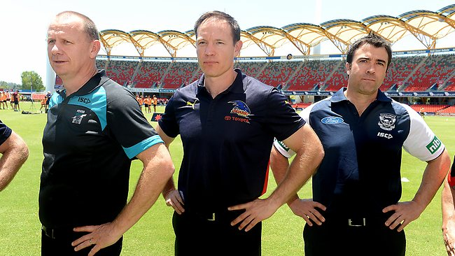 AFL Coaches,Gold Coast.Ken Hinkley,Brenton Sanderson and Chris Scott, Picture: Wayne Ludbey