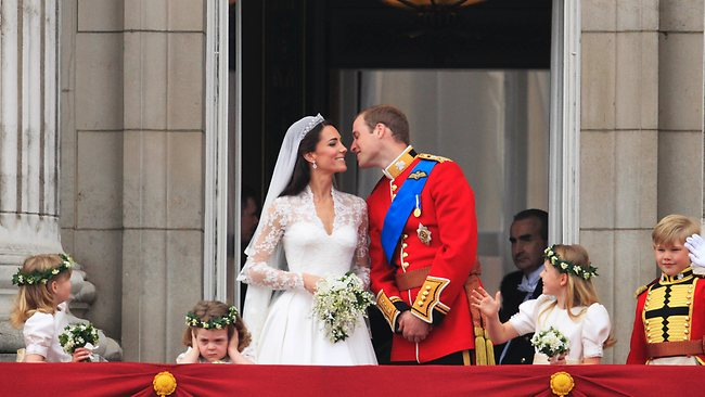 The crowds roared when William and Kate appeared on the balcony. Picture: AP