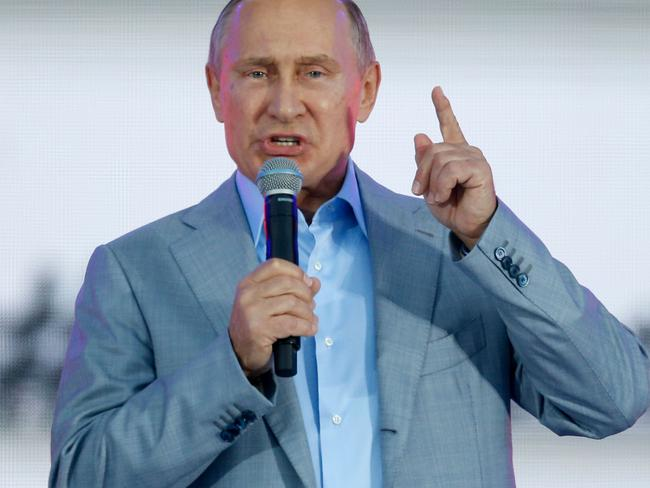 Russian President Vladimir Putin addresses participants of a youth festival in which he spoke of the 'realities' of super soldiers. Picture: AFP