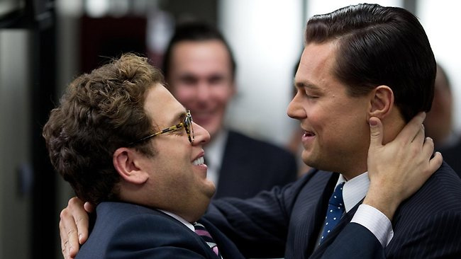 Jonah Hill and Leonardo DiCaprio in The Wolf of Wall Street.