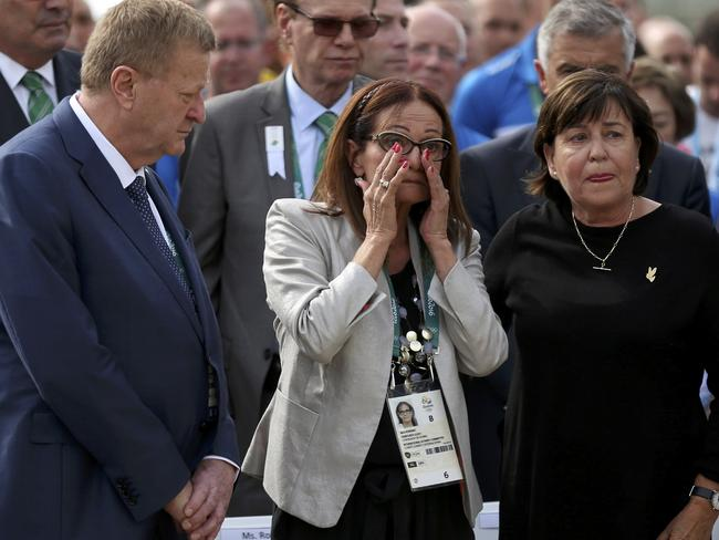 Ilana Romano and Ankie Spitzer, wives of Israeli athletes killed by Olympic Games in Munich, Germany attend the inauguration ceremony for the Place of Mourning.
