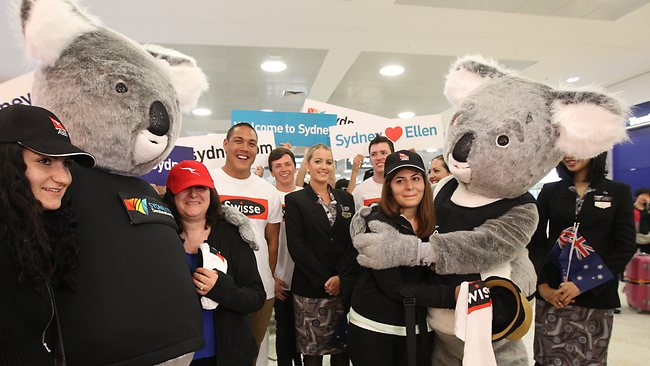 Three American women have been flown to Sydney...Anna & Anita Nouruzyan & Hasmik Nazarian won the trip on the Ellen Show. They were met by Tourism NSW & Swiss reps at the airport. Picture: John Grainger