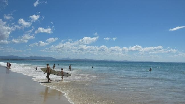 Homes being rented out for short breaks ... With beaches like this Byron Bay is a popular destination.