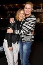 Model Lara Bingle (L) with host Charlotte Dawson on the set of reality TV show 'Australia's Next Top Model', pictured at The Ivy in Sydney. Bingle co-hosted a mentor session of contestants on the reality TV show.