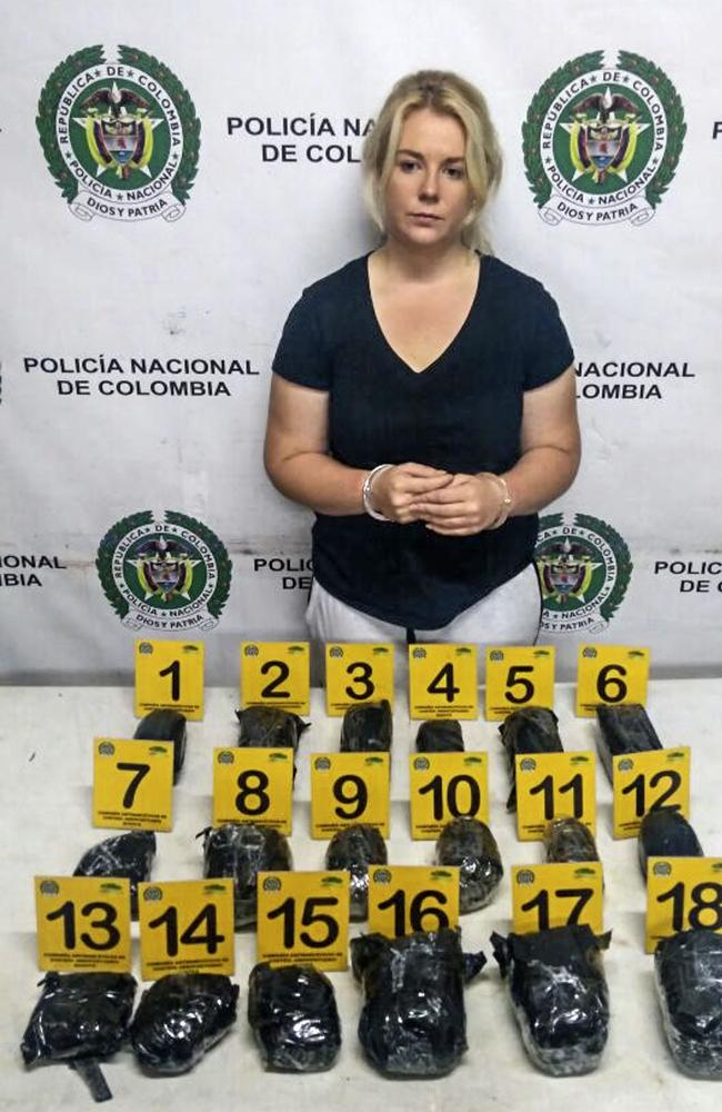 Sainsbury after she was arrested at El Dorado International Airport in Bogota with her 5.8kg drug haul. Picture: AFp/Colombian Anti-Narcotics Police
