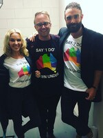"The 2016 ARIA Awards via social media ... Jonathon Moran with Kylie Minogue and Joshua Sasse, ""Saying I Do Down Under."" Picture: Instagram"