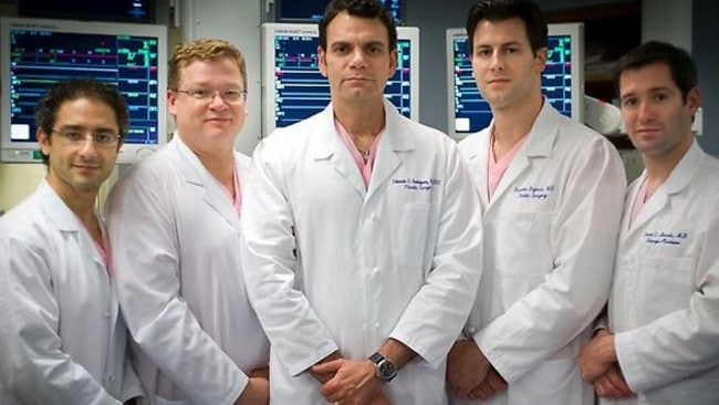 The surgeons who worked on the transplant ... Dr Amir Dorafshar, Dr Michael Christy, Dr Eduardo Rodriguez, Dr Branko Bojovic and Dr Daniel Borsuk. Picture: Coos Hamburger