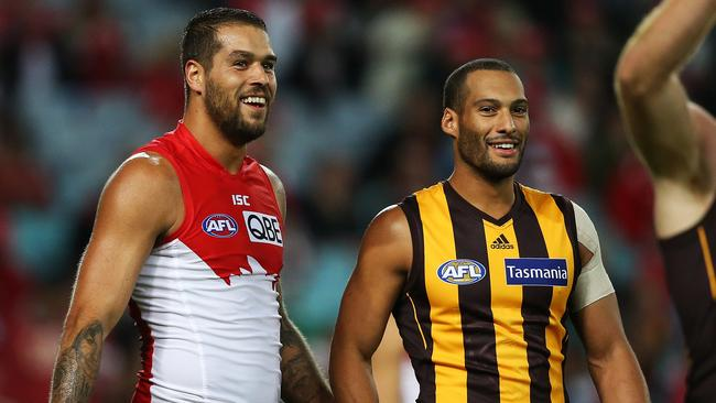 Good mates Lance Franklin and Josh Gibson will be reaquainted when Hawthorn and Sydney clash at the MCG. Picture: Phil Hillyard