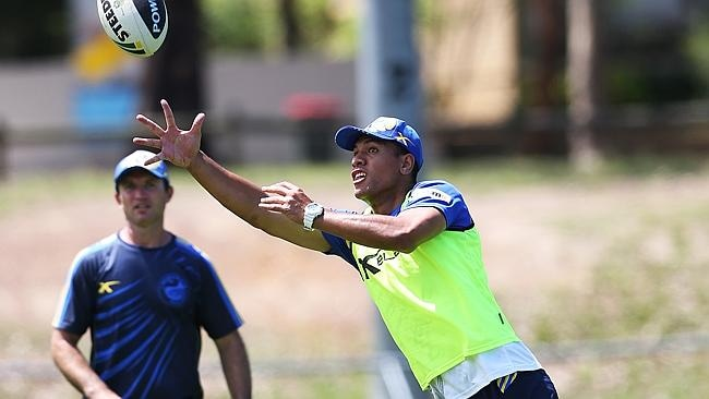Will Hopoate during his first training run with Parramatta.
