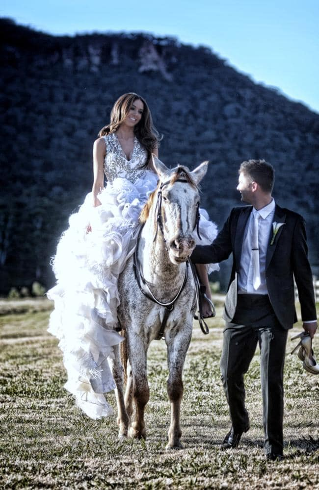 Michael Clarke and Kyly Boldy's wedding in 2012 at Wolgan Valley. Pic: Twitter