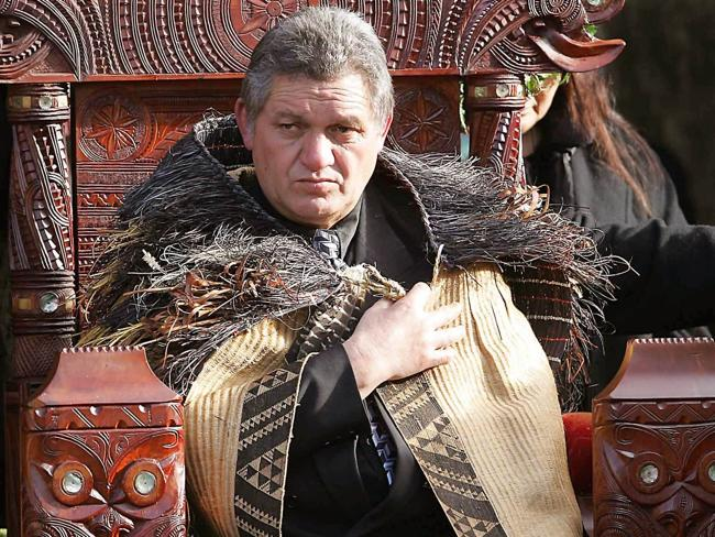 'Never consulted' ... Maori King Tuheitia Paki sitting on the carved wooden throne during his coronation ceremony.