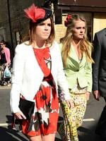 Bonas and Prince Harry were introduced by mutual friend, Princess Eugenie. Bonas walks with the Princess at the wedding of another friend in Londdon. Picture: Splash News
